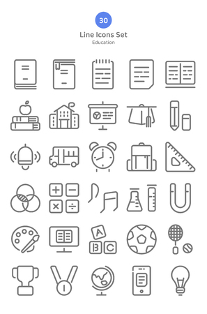 Outline style education icons set.
