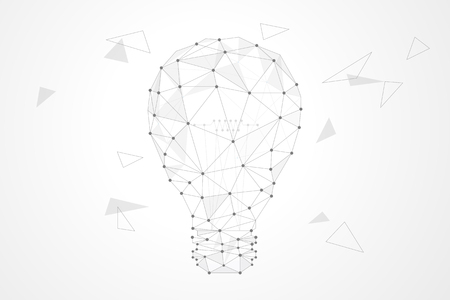 Abstract polygonal background design for business and technology. Polygon light bulb vector illustration. Ilustração