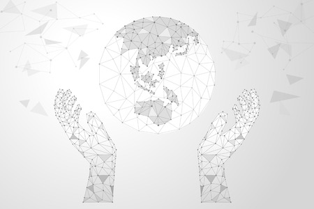 Abstract polygonal background design for business and technology. Polygon earth and hands vector illustration. Ilustração
