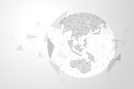 Abstract polygonal background design for business and technology. A globe made up of points and lines.