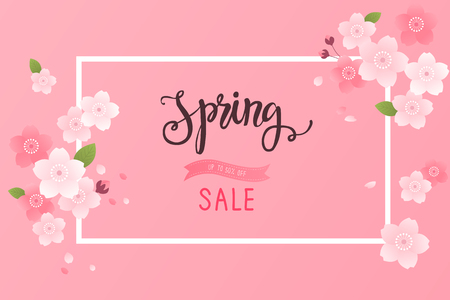 Spring sale background with beautiful cherry blossom.