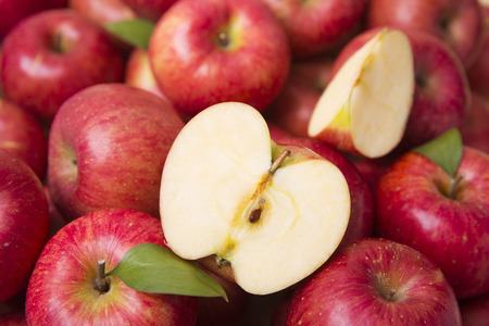 Healthy and weight loss concept, Red apple whole and half piece 015