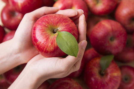 Healthy and weight loss concept, Red apple whole and half piece 022