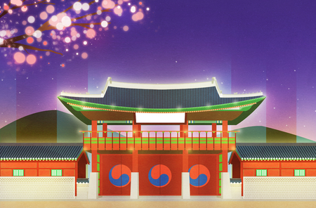 Night scene of traditional palaces in Seoul, Korea illustration Stockfoto