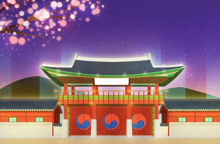 Night scene of traditional palaces in Seoul, Korea illustration Stock Photo