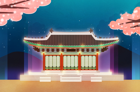 Night scene of traditional palaces in Seoul, Korea illustration 스톡 콘텐츠 - 122165828