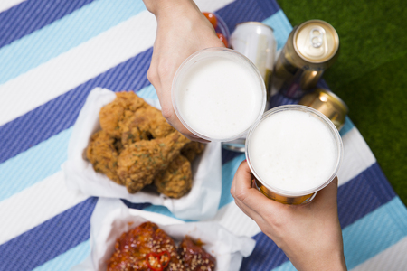 Korean style chicken and beer, delicious fried or spicy sauce chicken with cool beer 038