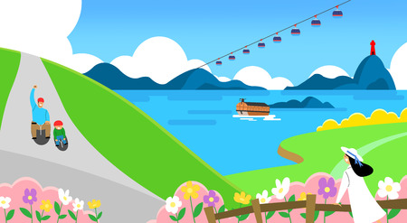 Spring trip concept illustration. a beautiful time when the flowers bloom 004