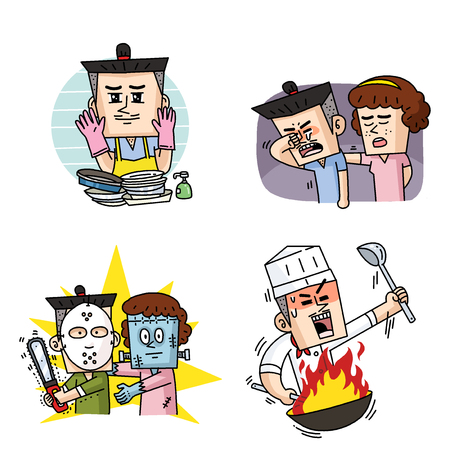 Emoji character cartoon with different emotions set 019 스톡 콘텐츠