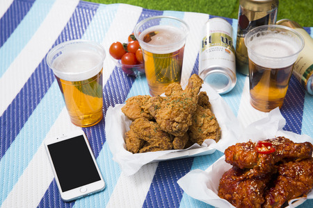 Korean style chicken and beer, delicious fried or spicy sauce chicken with cool beer 050 Stockfoto