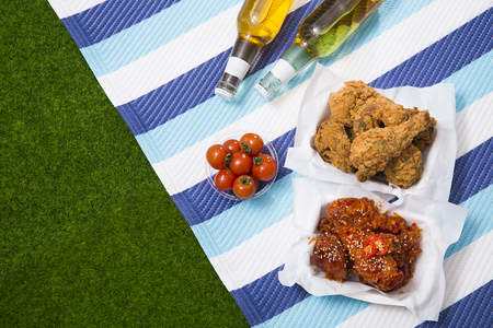 Korean style chicken and beer, delicious fried or spicy sauce chicken with cool beer 096