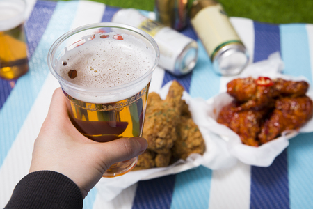 Korean style chicken and beer, delicious fried or spicy sauce chicken with cool beer 054