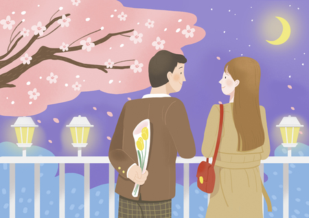 Happiness, having a good time with someone in spring 013 스톡 콘텐츠