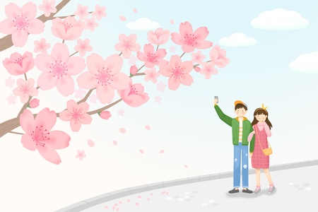 Go on a Spring Picnic, having a good time in spring landscape 001 스톡 콘텐츠 - 122836245