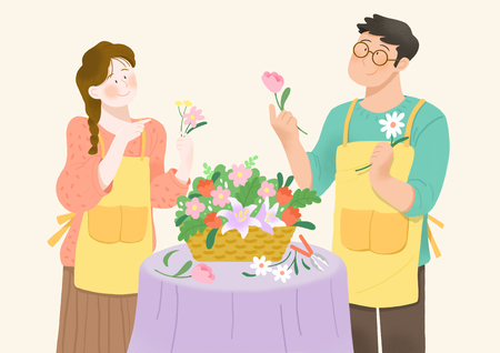 Happiness, having a good time with someone in spring 005 스톡 콘텐츠 - 122840268