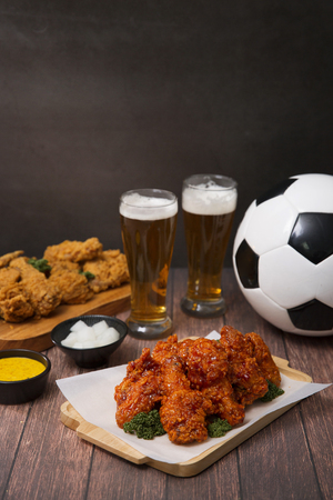 Korean style chicken and beer, delicious fried or spicy sauce chicken with cool beer 066