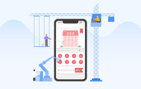Mobile application development and design process concept flat design illustration 015 Ilustrace