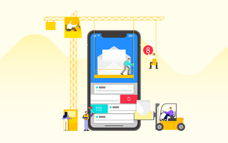 Mobile application development and design process concept flat design illustration 002
