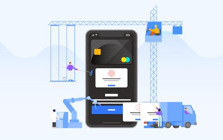 Mobile application development and design process concept flat design illustration 006