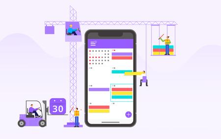 Mobile application development and design process concept flat design illustration 004