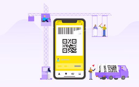 Mobile application development and design process concept flat design illustration 013