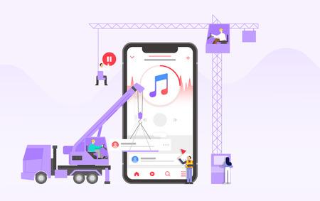 Mobile application development and design process concept flat design illustration 007 Ilustrace