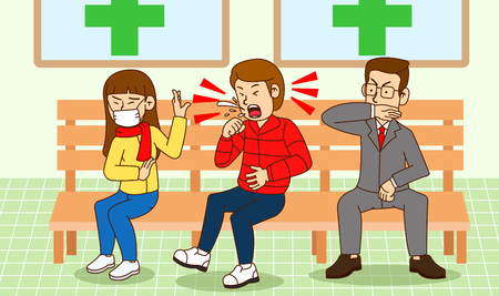 illustration of Public etiquette concept, how to behave in public places. 015
