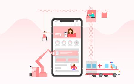 Mobile application development and design process concept flat design illustration 003 Ilustrace