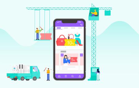 Mobile application development and design process concept flat design illustration 011