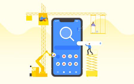Mobile application development and design process concept flat design illustration 008