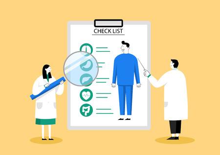 Chequeo médico, concepto de atención médica ilustración vectorial 008