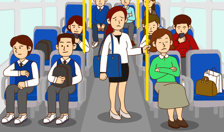 illustration of Public etiquette concept, how to behave in public places. 004