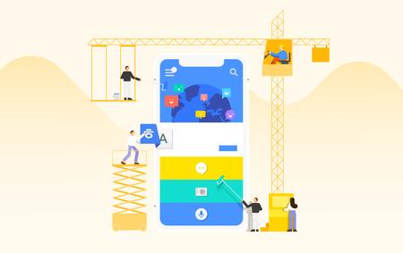 Mobile application development and design process concept flat design illustration 005 Ilustrace