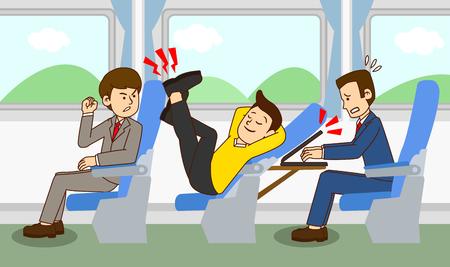 Ilustración del concepto de etiqueta pública, cómo comportarse en lugares públicos. 011 Ilustración de vector