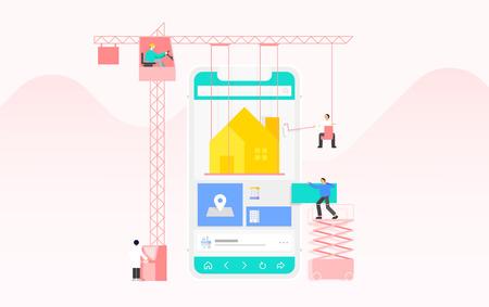 Mobile application development and design process concept flat design illustration 010
