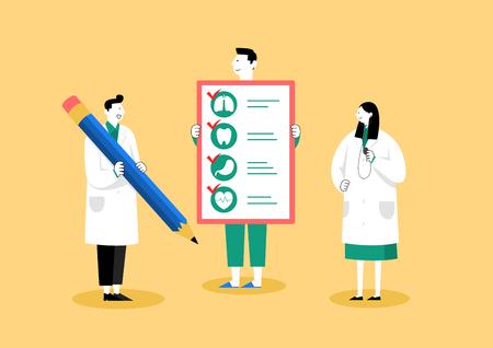 Check-up medico, illustrazione vettoriale di concetto di assistenza sanitaria 005