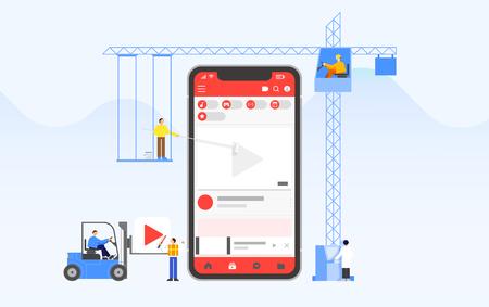Mobile application development and design process concept flat design illustration 009