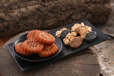 traditional refreshments on black plate Stok Fotoğraf