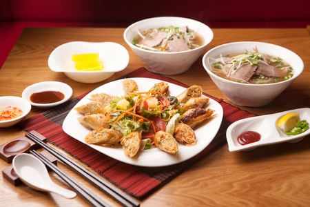 vietnamese food such as cha gio and vietnamese spring rolls on white plate