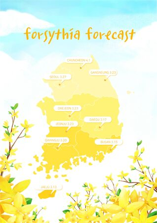 illustration of flowering times, forecast for spring flowers bloom in east asia Stock Photo