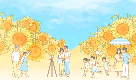 illustration of Enjoy the spring flower festival with family or couple 写真素材