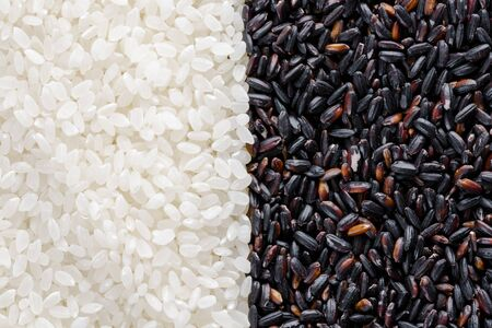 Assortment of Various grains and rice in bowls.