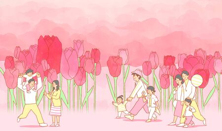 illustration of Enjoy the spring flower festival with family or couple 스톡 콘텐츠