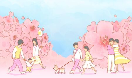 illustration of Enjoy the spring flower festival with family or couple 스톡 콘텐츠 - 124897538