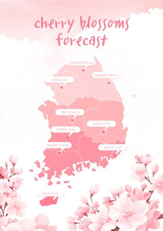 illustration of flowering times, forecast for spring flowers bloom in east asia Imagens