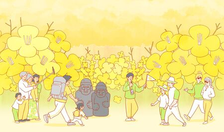 illustration of Enjoy  spring flower festival with family or couple 스톡 콘텐츠 - 124928581