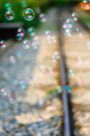 railroad and soap bubbles Imagens