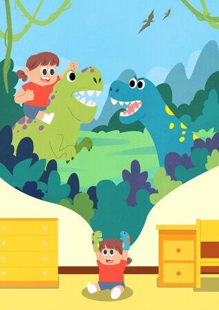 Childrens dream cartoon style illustration