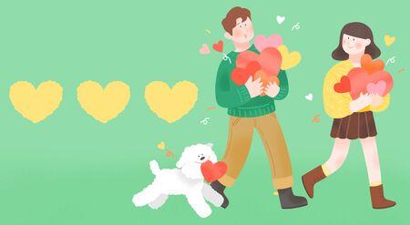 Spring is season of love, vector design concept for loving