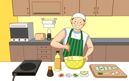 in various lifestyles illustration in cartoon style  イラスト・ベクター素材